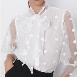 ZARA Organza Polka Dot Shirt With Bow